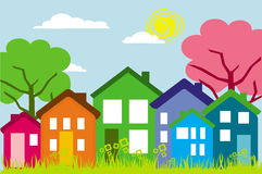 Casas na rua Fotografia de Stock Royalty Free
