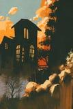 Casas nas montanhas entre penhascos ilustração do vetor