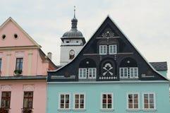 Casas no centro histórico de Decin em República Checa Fotografia de Stock