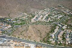 Casas no deserto do Arizona como visto do ar Fotos de Stock