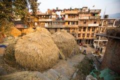 Casas no distrito central de Bhaktapur Imagens de Stock Royalty Free