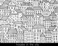 Casas no estilo da garatuja do esboço da cidade Fotos de Stock Royalty Free