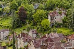 casas no lapopie do cirq de Saint fotografia de stock royalty free