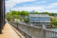 Casas no parque do rio de Quinnipiac em New Haven Connecticut fotografia de stock