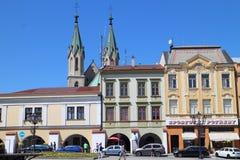 Casas no quadrado principal e na igreja de St Morice no ¾ do› Å™ÃÅ de KromÄ Fotos de Stock Royalty Free