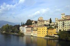 Casas no rio Brenta Imagem de Stock