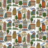 Casas no teste padrão da cidade Imagens de Stock Royalty Free