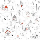 Casas no teste padrão sem emenda da floresta do inverno com animais e o co vermelho Imagem de Stock