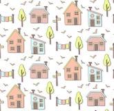 Casas no teste padrão sem emenda do vetor da vila escandinava Fotos de Stock Royalty Free