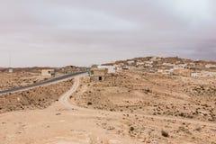 Casas nos oásis no deserto de Sahara, Tunísia Imagem de Stock