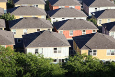 Casas nos subúrbios Imagens de Stock Royalty Free