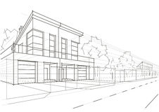 Casas obstruídas do esboço arquitetónico linear Fotografia de Stock