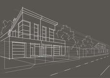 Casas obstruídas do esboço arquitetónico linear no fundo cinzento Imagem de Stock Royalty Free