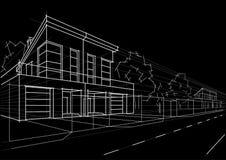 Casas obstruídas do esboço arquitetónico no fundo preto Fotos de Stock