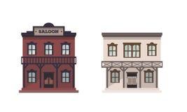 Casas ocidentais ajustadas ilustração stock