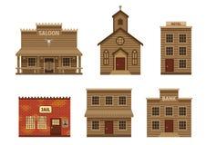 Casas ocidentais selvagens ajustadas ilustração stock