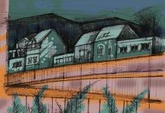 Casas pela estrada Fotografia de Stock Royalty Free