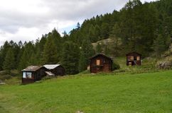 Casas populares de madeira antigas da montanha em um prado verde perto da vila alpina de Zermatt, Suíça Fotos de Stock