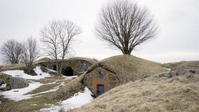 Casas preciosas de la semi-cabaña en Finlandia almacen de metraje de vídeo