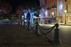 Casas que están delante de Palace del príncipe Calles y árboles adornados con las luces de la Navidad Imágenes de archivo libres de regalías