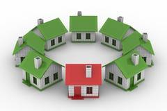 Casas que se colocan alrededor en el fondo blanco stock de ilustración