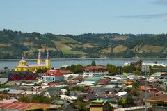 Casas residenciales - Castro - Chile foto de archivo libre de regalías