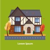 Casas residenciales planas coloridas Foto de archivo libre de regalías