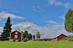 Casas rojas en Norrbotten Fotografía de archivo libre de regalías