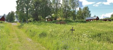 Casas rojas en Norrbotten Fotografía de archivo