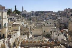 Casas rupestres antiguas de Matera en centro de ciudad Fotografía de archivo libre de regalías