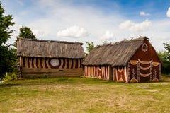 Casas rurales antiguas de la cultura de Trypillian Imágenes de archivo libres de regalías