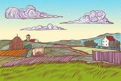 Casas rurales del pueblo del campo del verde del paisaje ilustración del vector