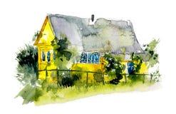 Casas rurales Pueblo Ejemplos dibujados mano de la acuarela ilustración del vector