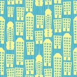 Casas sem emenda no fundo textured azul Foto de Stock Royalty Free