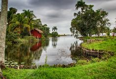 Casas sobre a água, vila Boca de Guama, Cuba fotografia de stock