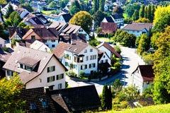 Casas suíças em um Basileia-País Fotos de Stock Royalty Free