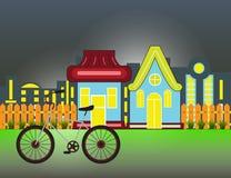 Casas suburbanas Front View Building y bicicleta con la silueta de madera de la ciudad de la cerca y de la noche Fotografía de archivo libre de regalías