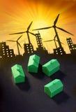 Casas sustentáveis das energias eólicas foto de stock royalty free