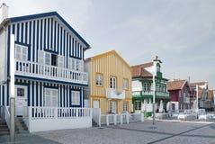 Casas típicas de la Nova de la costa, Aveiro, Portugal. Fotos de archivo