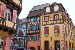 Casas típicas de Riquewihr França Imagem de Stock