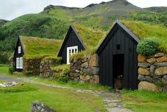 Casas típicas de Skogar, Islandia imagen de archivo libre de regalías