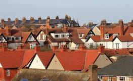 Casas telhadas vermelhas na cidade Imagem de Stock Royalty Free