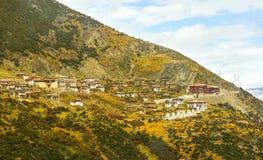 Casas tibetanas en el campo Imagen de archivo libre de regalías