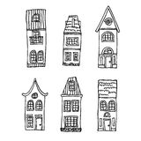 Casas tiradas mão do vintage Imagens de Stock