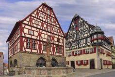 Casas tradicionais no der Tauber do ob de Rothenburg, Alemanha Fotos de Stock