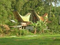 Casas tradicionales de Toraja Fotos de archivo libres de regalías