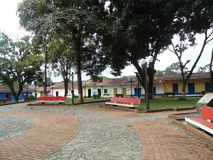 Casas tradicionales en la ciudad situada en los barinas del estado en la Venezuela imagenes de archivo