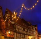 Casas tradicionales festivas en Colmar Fotografía de archivo libre de regalías