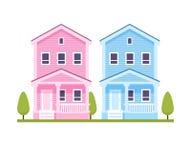 Casas urbanas rosadas y azules Fotos de archivo libres de regalías