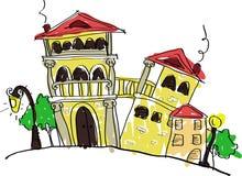 Casas velhas do tijolo ilustração do vetor